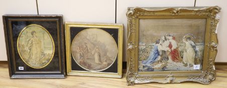 A 19th century silk picture, a petit point picture and a coloured print