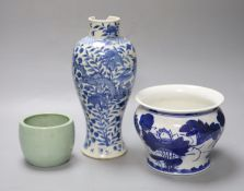 A Chinese blue and white dragon vase with Kangxi mark, together with a blue and white jardiniere and