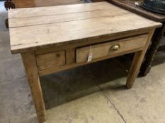 A 19th century pine and fruitwood kitchen table, width 105cm, depth 77cm, height 72cm