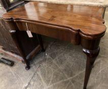 An 18th century mahogany folding card table, width 81cm, depth 38cm, height 71cm