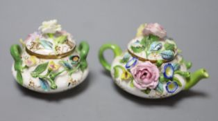 A mid 19th century Minton or Bevington miniature teapot and cover, and matching sucrier and cover,