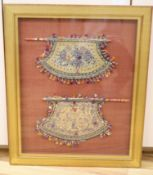 Chinese framed beaded embroideries, two framed as one