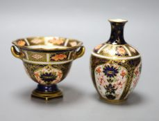 A Royal Crown Derby ovoid vase painted with pattern 1128 and a two handled vase, tallest 11cm