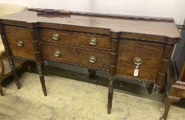 A George IV Scottish ebony strung mahogany sideboard, width 180cm depth 64cm height 96cm