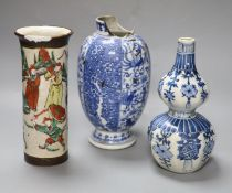A Chinese blue and white gourd vase, a famille rose sleeve vase and a Japanese blue and white
