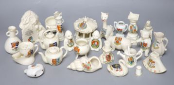 A small collection of crested china