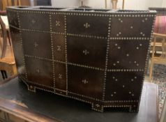 A brass studded leather mounted four division stick stand, width 122cm, depth 29cm, height 74cm