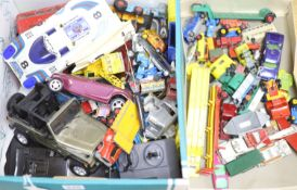 A box of Dinky, Corgi diecast models, playworn