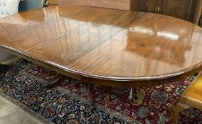 A William IV style extending mahogany dining table, 212cm extended (two spare leaves), width
