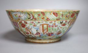 A 19th century Chinese Canton Famille rose punch bowl, c.1830-50, 28cm diameter,
