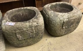 A pair of square pebble effect reconstituted stone garden planters, width 39cm, height 33cm