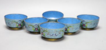 A set of six 19th century Chinese cloisonne bowls, diameter 11cm