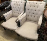 A pair of Victorian upholstered armchairs, width 66cm, depth 90cm, height 100cm