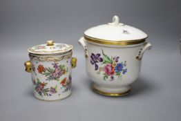 A Continental porcelain cylindrical jar and a Portuguese ice pail, height 23cmCONDITION: Jar good;
