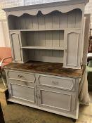 An early 20th century painted oak dresser, width 152cm depth 56cm height 197cm