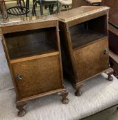 A pair of Queen Anne revival walnut bedside cabinets, width 43cm, depth 39cm, height 70cm