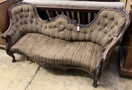 A Victorian carved walnut double spoon back settee, length 200cm, depth 90cm, height 84cm