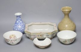 A group of Chinese ceramics, tallest 19cm