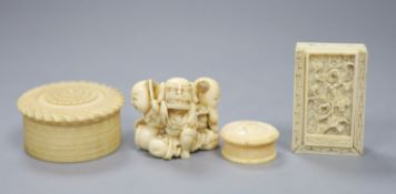 A 19th century Cantonese export carved ivory whist box, with a sliding floral panelled cover, and