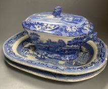 A Copeland Spode blue and white tureen and two Victorian meat platters, longest 43cm