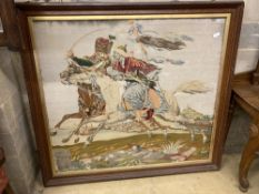 A large Victorian polychrome tapestry panel depicting a Hussar mounted and Moor in combat (oak