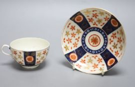 An 18th century Worcester cup and saucer painted with the Old Japan Star pattern, diameter 13cm