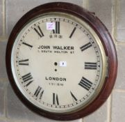 A large British Rail mahogany wall clock case, lacking movement, stamped 191SW, Diameter 57cm.
