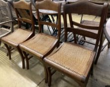 Six Anglo Indian caned hardwood dining chairs