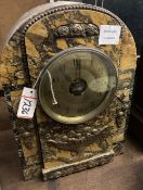 A Bulle black and ochre marble cased electric mantel clock, height 38cm