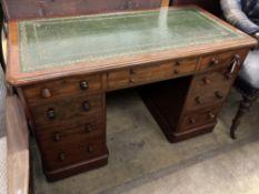 A Victorian mahogany kneehole desk, length 122cm, depth 60cm, height 76cm