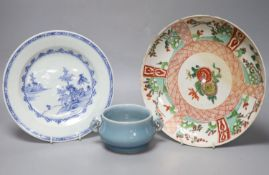 A Chinese Kangxi famille verte dish, 26.5cm, a Chinese blue and white plate and a blue glazed