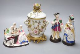 A Dresden porringer and three Continental porcelain figure groups, tallest 21cm
