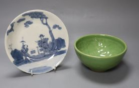 A Chinese blue and white dish, diameter 18cm, and a green glazed bowl