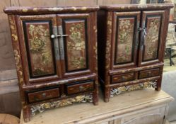 A pair of Chinese scarlet lacquer cabinets, width 54cm, depth 32cm, height 73cm
