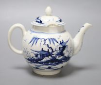 A rare Derby teapot and cover with Chinese landscapes, height 13cm