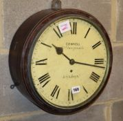 A Victorian mahogany dial wall timepiece, the dial inscribed Connell, 23 Cheapside, London, with