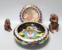 Two Chinese cloisonne enamel censers and two carved wood monkeys, largest diameter 20cm