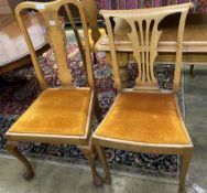 A set of six early 20th century oak dining chairs together with three carved oak dining chairs