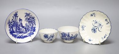 An 18th century Worcester teabowl and saucer Gilliflower pattern and another with mother and child