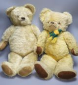 A pale blond Deans 1950's English teddy, 26in., rexine paws, good condition and a 1950's English