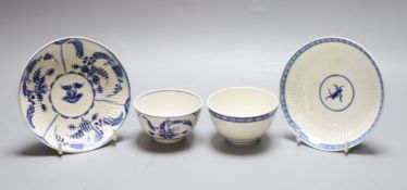 An 18th century Worcester reed moulded teabowl and saucer Immortelle pattern and another painted