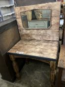 An industrial style iron mounted pine dressing table, width 80cm, depth 54cm, height 140cm