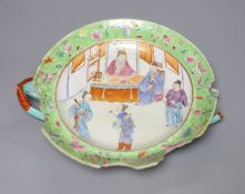 A Chinese green ground hot water dish, Daoguang mark and period, damagedCONDITION: Provenance -