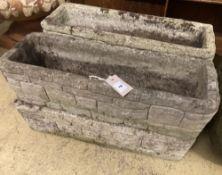 A set of four rectangular brick effect reconstituted stone garden troughs, width 60cm, depth 20cm,