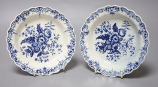 A pair of 18th century Worcester scalloped plates decorated with fir cones, flowers and a rose hip