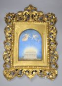 A late 19th century Florentine in memoriam miniature on card, in gilt frame, total height 41cm
