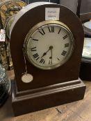 A mahogany mantel timepiece, height 38cm