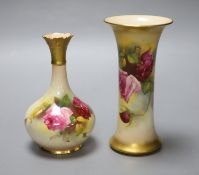 A Royal Worcester trumpet vase, shape G923 painted with roses by M.Hunt