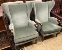 A pair of Parker Knoll Model 757 wing armchairs, width 79cm, depth 88cm, height 100cm