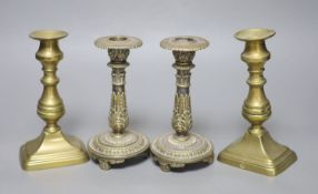 Two pairs of brass candlesticks, height 18cm